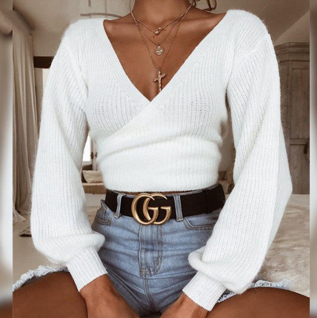 Women's Autumn/Winter Warm Soft Off-Shoulder Knitted Cropped Sweater