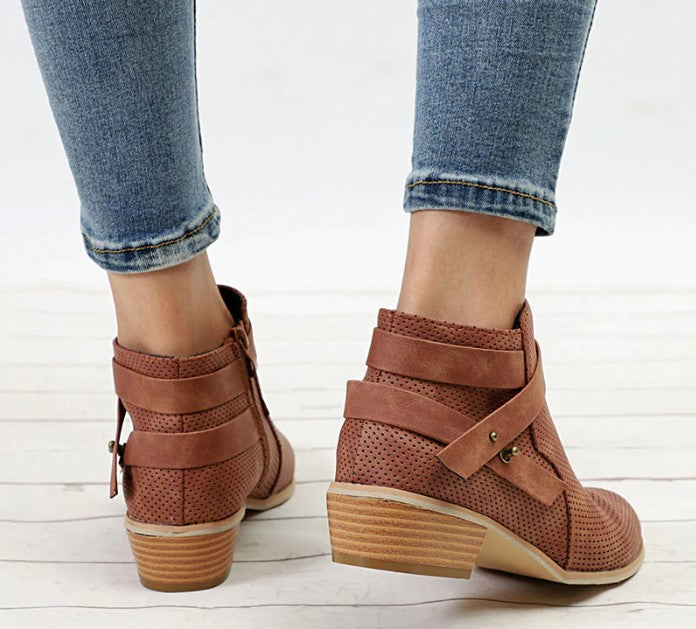 Women's Spring/Autumn Low-Heeled Short Boots