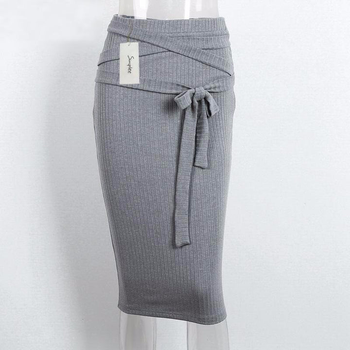 Autumn Grey High Waist Pencil Knitted Skirt