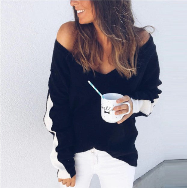 Women's Autumn Casual Deep V-Neck Loose Knitted Pullover