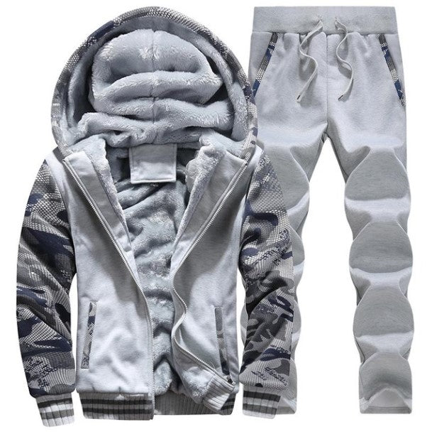 Men's Winter Warm Fleece Hooded Tracksuit With Fur Inside