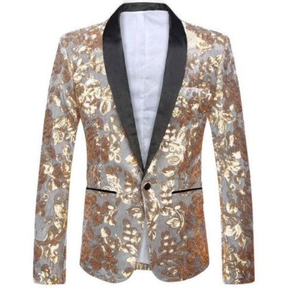 Men's Autumn Velvet Lapel Blazer Decorated With Golden Sequins