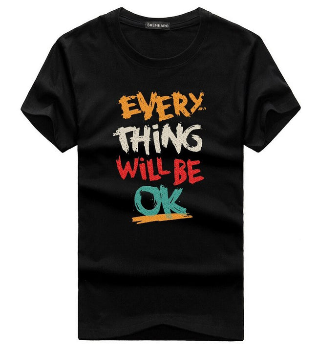 "Men's Summer Cotton T-Shirt With ""Everything Will Be Ok"" Printing"