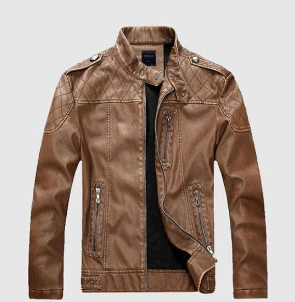 Men's Winter Casual Faux Leather Jacket With Velvet Lining