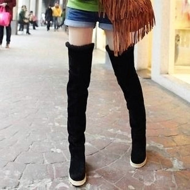 Women's Autumn/Winter Faux Leather Stretch Over-The-Knee High Slim Boots