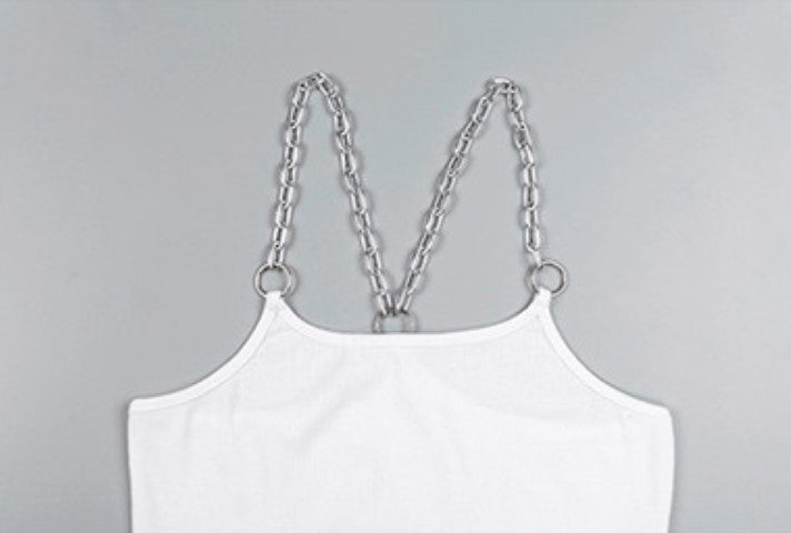 Women's Summer Short Tank Top With Metal Chains