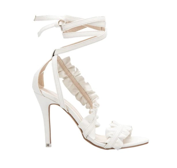 Women's Summer High-Heeled Ankle Strap Sandals With Ruffles
