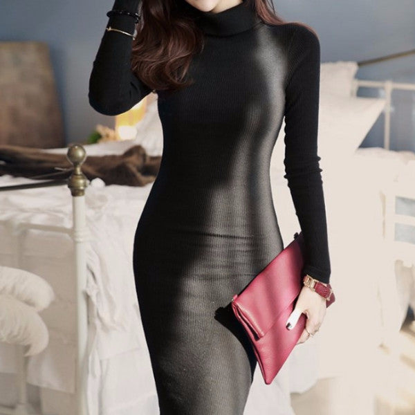 Dress – Knitted Turtleneck Maxi Dress With Long Sleeves | Zorket