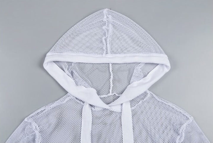 Women's Spring/Summer Long-Sleeved Mesh Hooded Sweatshirt