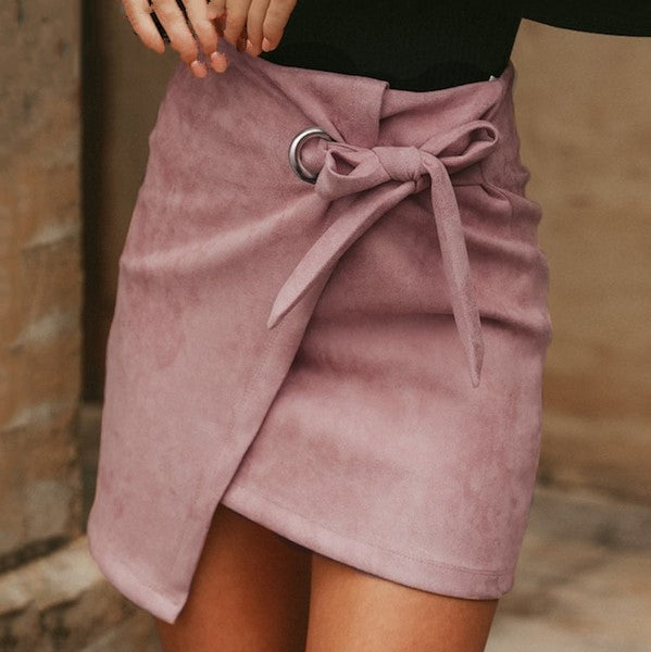 Women's Spring/Autumn Asymmetrical High Waist Suede Skirt With Split