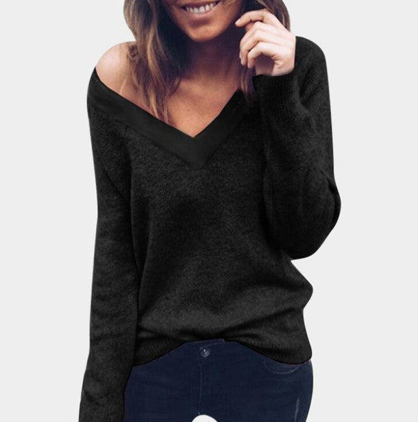 Women's Autumn/Winter V-Neck Knitted Pullover