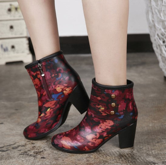 Women's Autumn High-Heeled Rain Boots