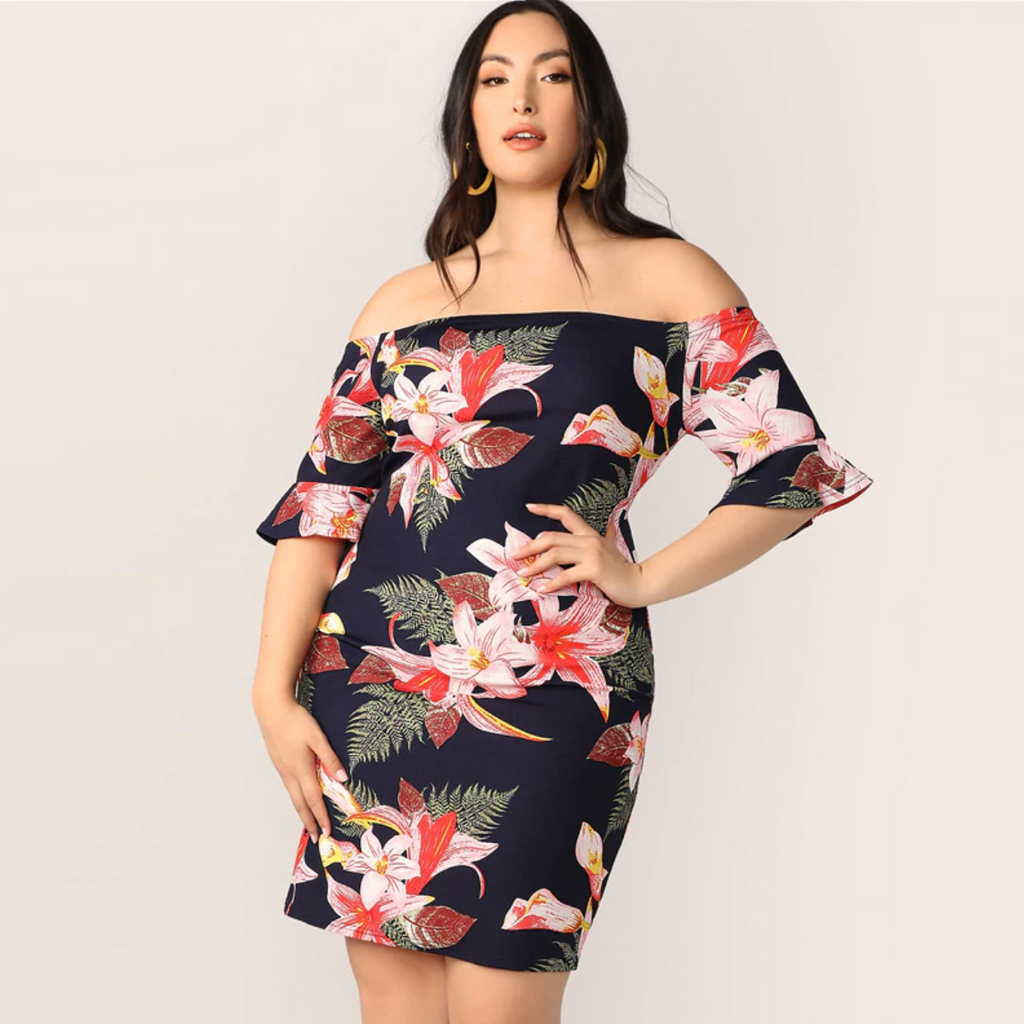 Women\'s Summer Floral Off-Shoulder Dress | Plus Size
