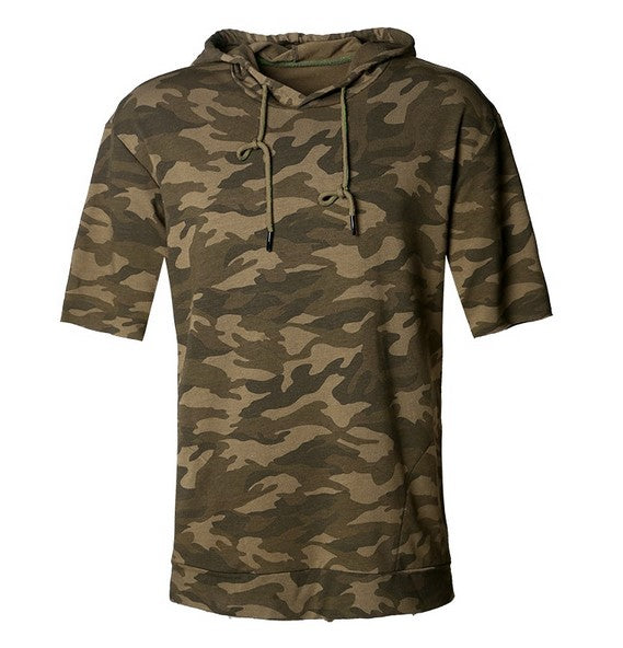Men's Spring Loose Camouflage Half-Sleeved Hoodie