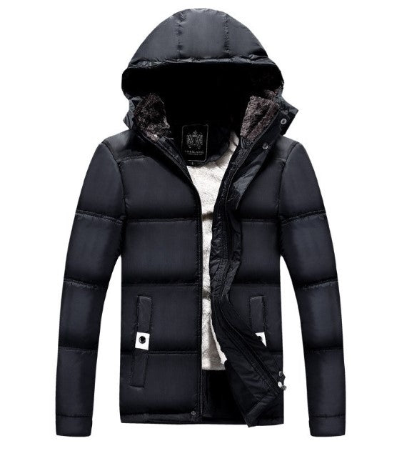 Men's Winter Warm Fleece Padded Parka With Detachable Hat