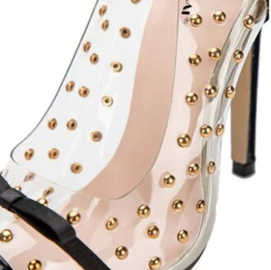 Women's Spring/Autumn PVC Waterproof Patchwork High-Heeled Pumps With Rivets