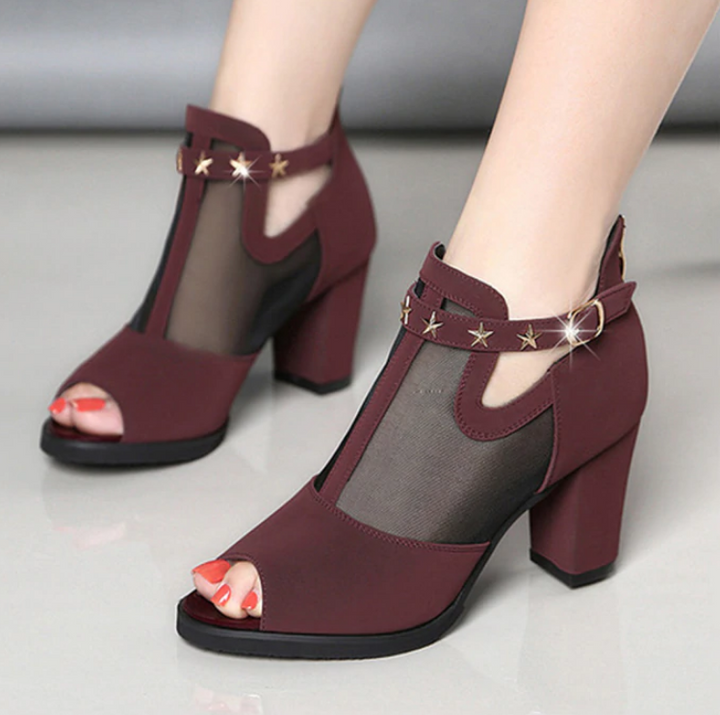 Women's Summer High Heels Open Toe Shoes with Clasp