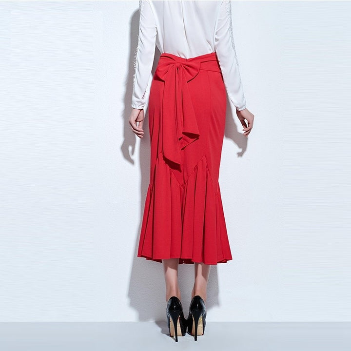 Skirt – Elegant Slim High-Waist Red Mid-Calf Women's Office Look Skirt | Zorket