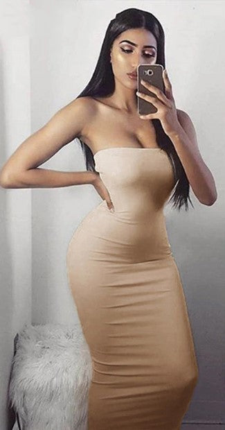 Women's Summer Sleeveless Thin Slim Wrap Pencil Midi Dress