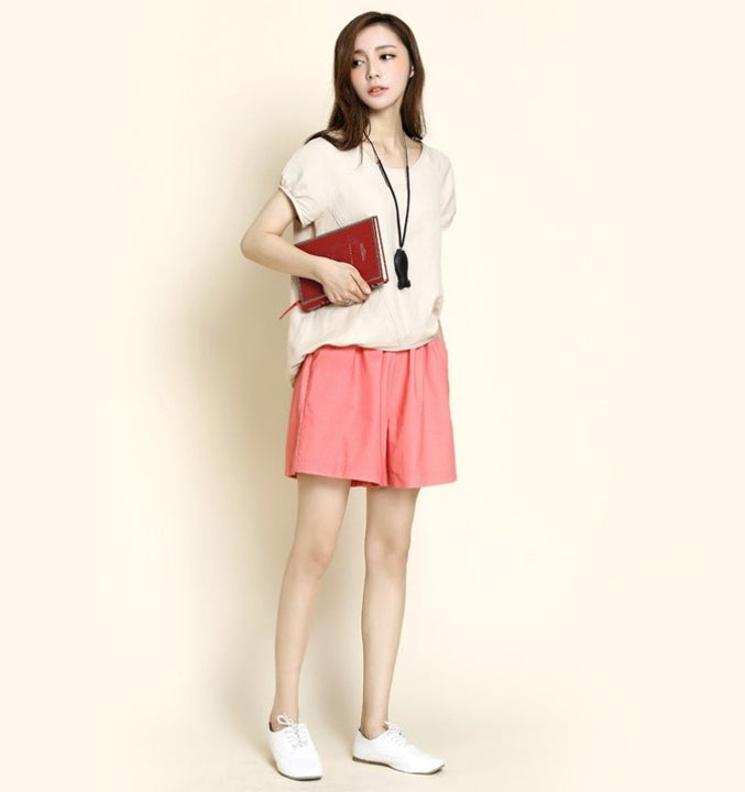 Women's Summer Cotton Elastic-Waist Loose Shorts With Pockets