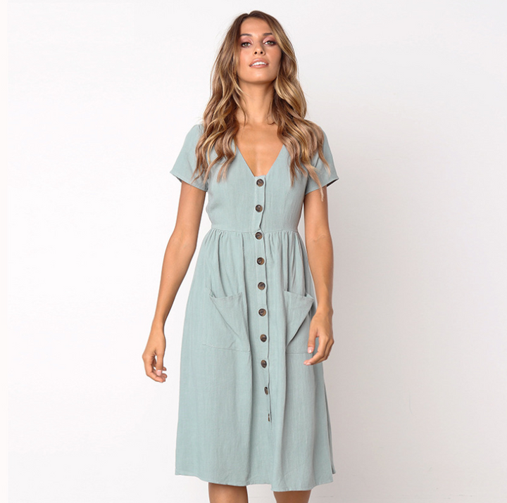 Women Summer Casual A-Line V-Neck Dress With Pockets