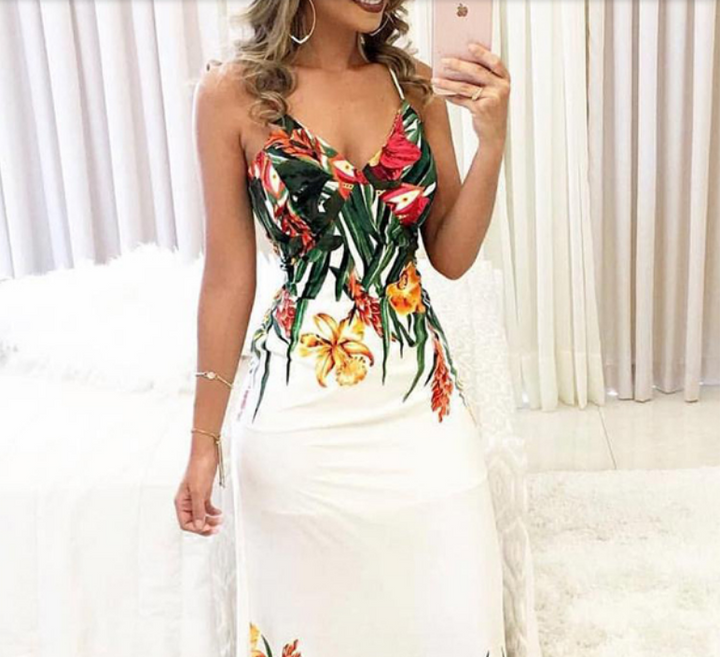 Women's Summer  Sleeveless V-Neck  Long Dress