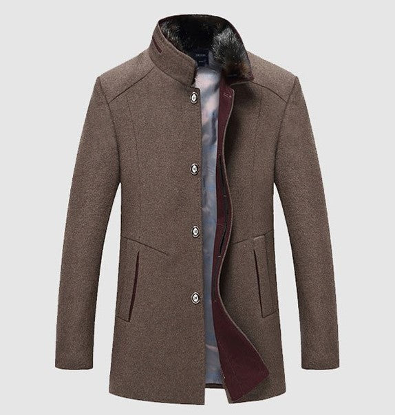 Men's Autumn/Winter Casual Woolen Coat  With Velvet Lining