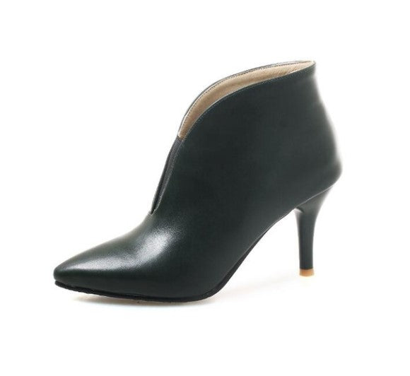 Women's Winter V-Shaped High-Heeled Ankle Boots | Ladies Footwear