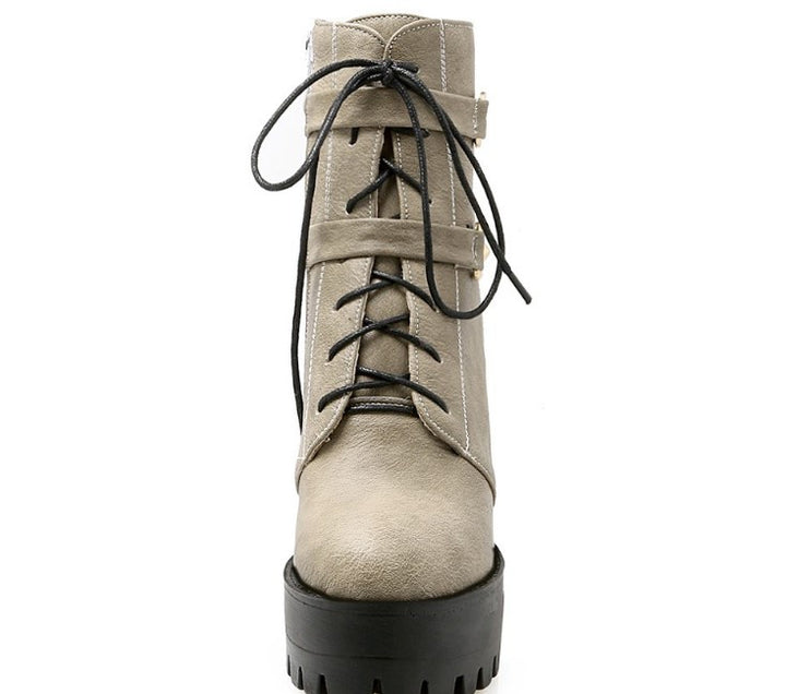 Autumn / Spring Lace Up Women's High Heels Boots - Zorket