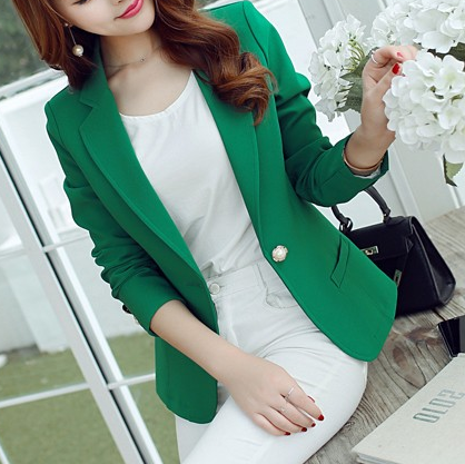 Female One Button Three Quarter Sleeve Formal Blazer