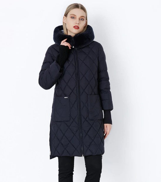 Women's Winter Hooded Cotton-Padded Down Coat With Fur Collar