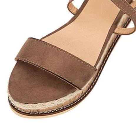 Women's Summer Flat Platform Cross-Strap Sandals | Ladies Flock Espadrilles