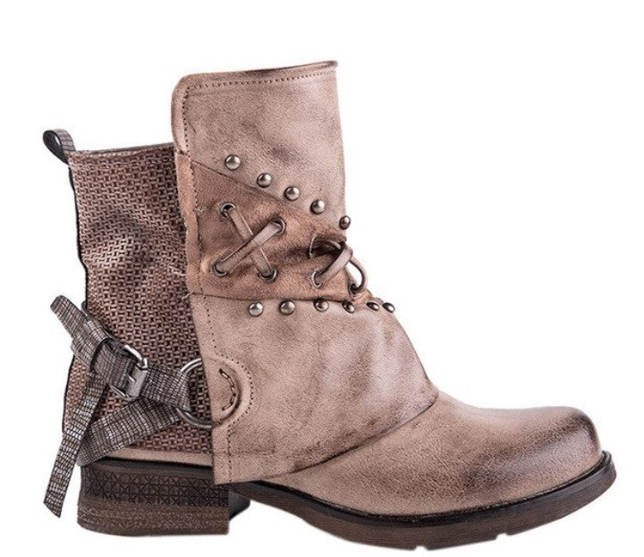 81d3d4fe28830 Women's Winter PU Leather Waterproof Ankle Boots With Rivets and Buckles
