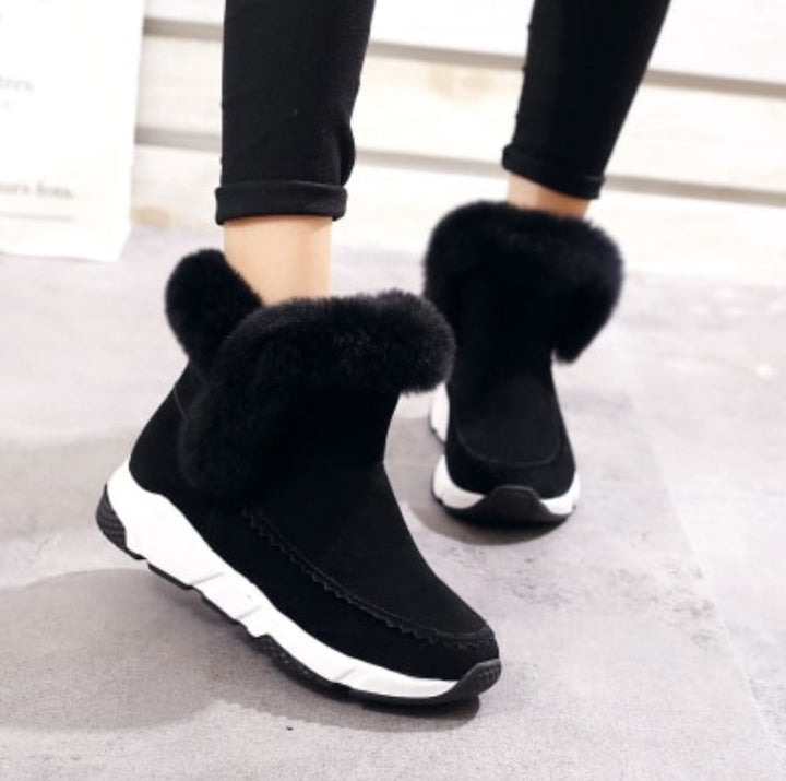 Women's Winter Warm Patchwork Platform Snow Boots Decorated With Faux Fur