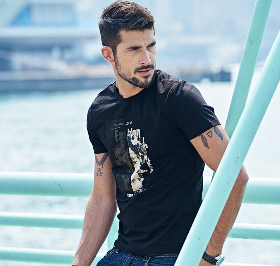 Men's Summer Patchwork Short-Sleeved T-Shirt With Print