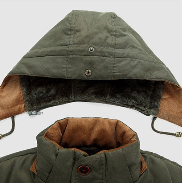 Men's Winter Hooded Warm Mid-Long Parka With Velvet Lining