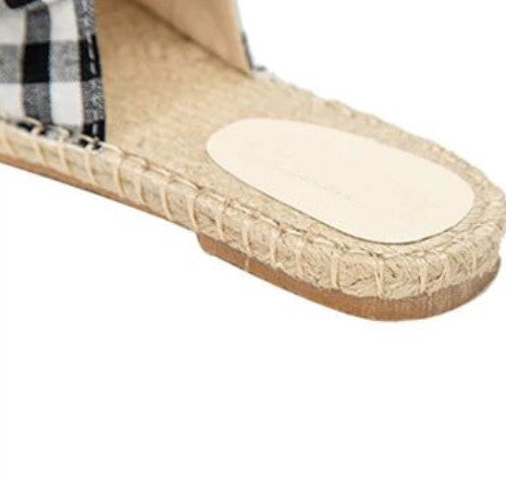 Women's Summer Plaid Woven Flat Flip Flops With Bow-Knot