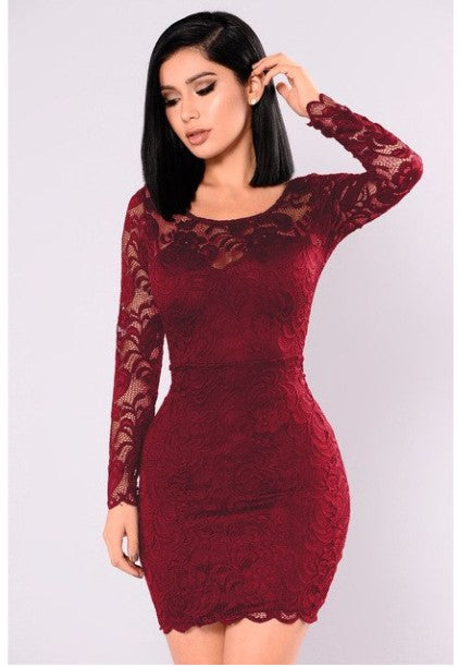 Women's Autumn Long-Sleeved Lace Mini Bodycon Dress