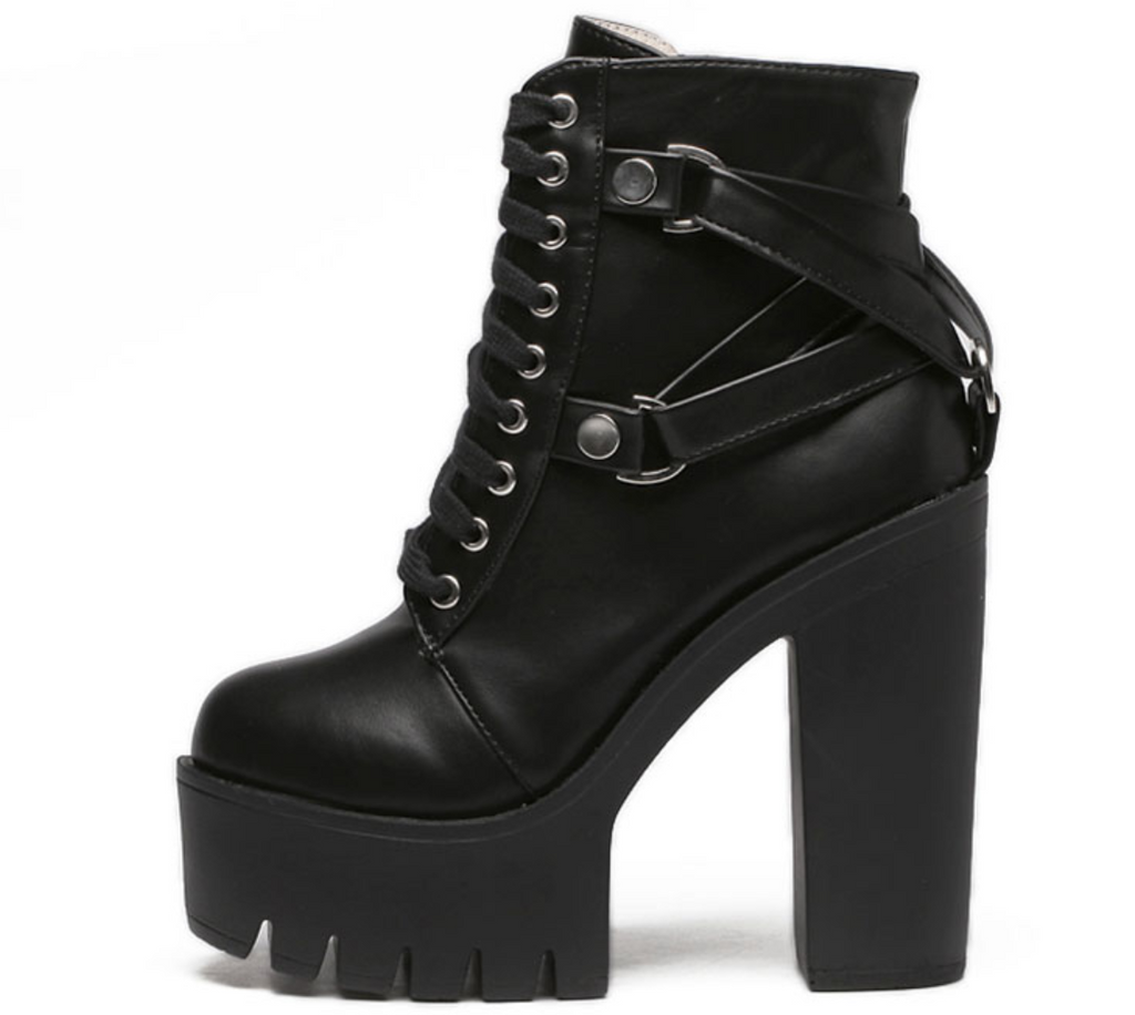 Women's Spring/Autumn High Heels Lace-Up Ankle Boots