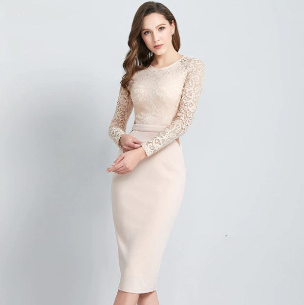 Women's Spring/Summer Mid-Calf Pencil Lace Dress