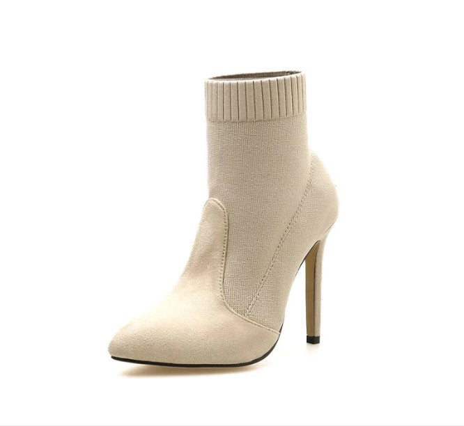 Women's Winter Woolen Yarn High-Heeled Ankle Boots