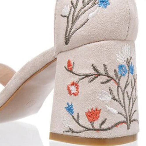 Women's Summer Suede Retro Sandals With Floral Embroidery on Heels