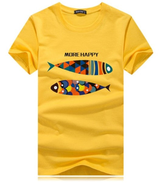 Men's Summer Short-Sleeved T-Shirt With Printed Fish