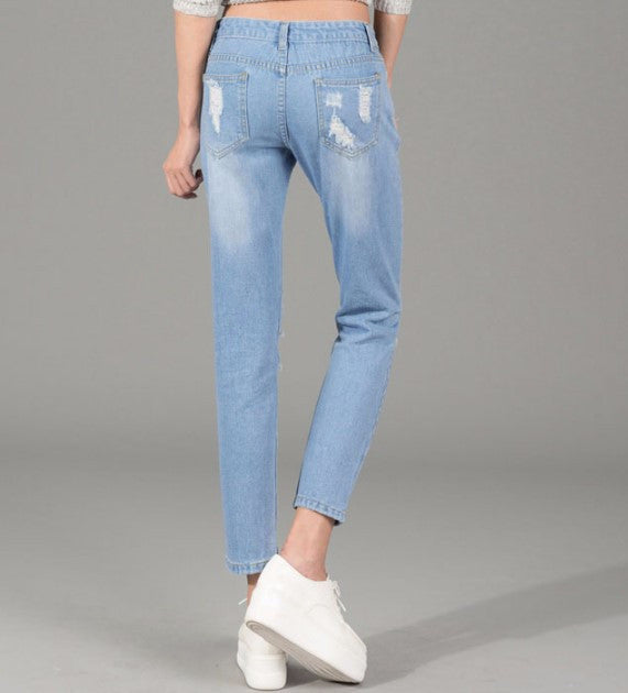Woman's Ripped Straight Mid Waist Denim Pants - Zorket