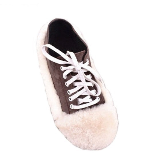 Women's Autumn Suede Flat Shoes With Fur Inserts
