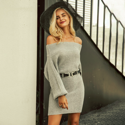 Off-Shoulder Long Knitted Sweater Dress - Zorket
