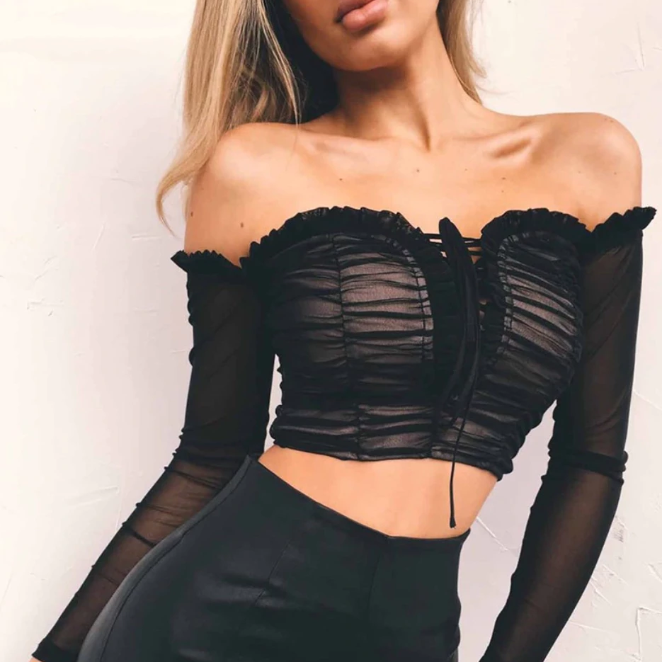 Women's Off-Shoulder Long-Sleeved Crop Top With Ruffles