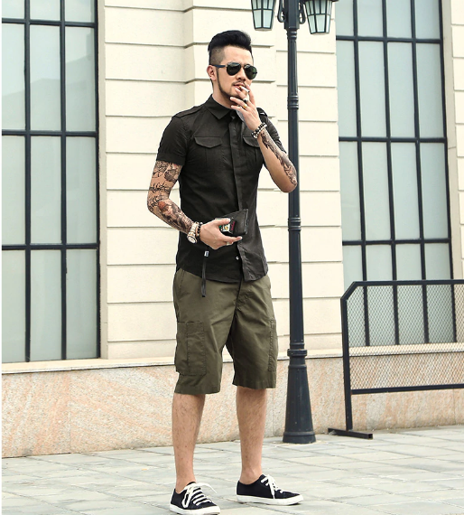 Men's Summer Cotton Military Shirt