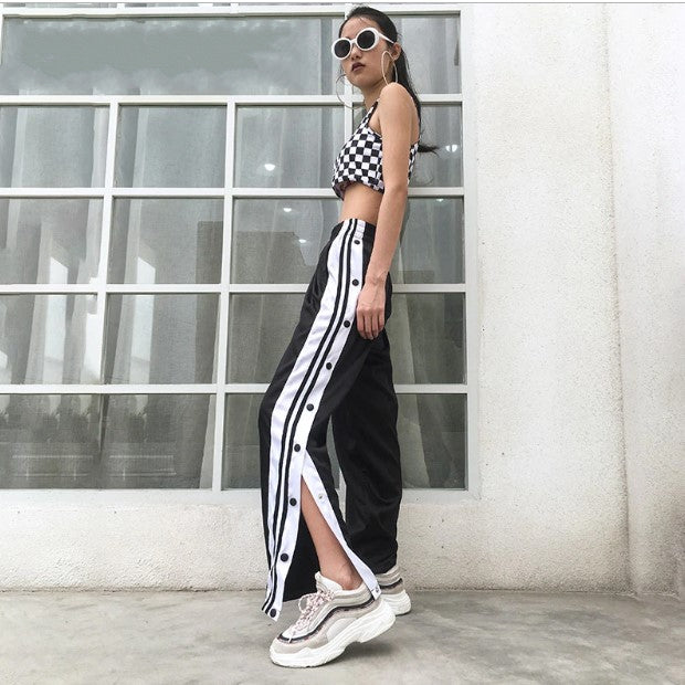 Women's Summer Loose High-Waist Striped Cargo Pants With Side Split On Buttons