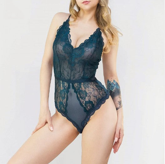 Women's Lace Transparent Mesh Bodysuit